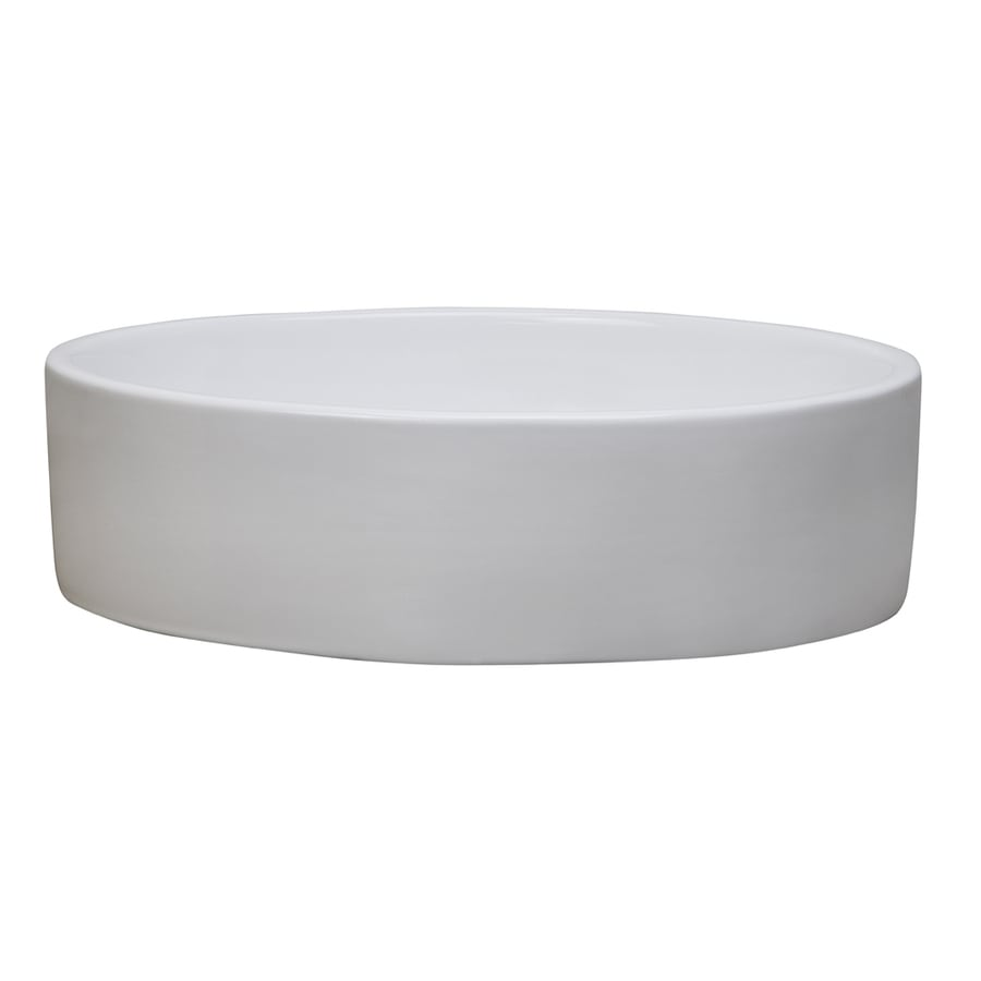 DECOLAV Classically Redefined White Vessel Oval Bathroom Sink