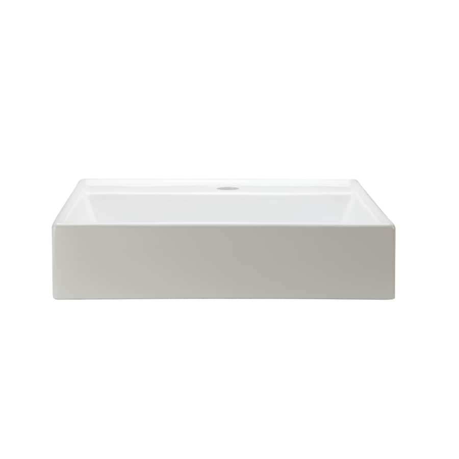 DECOLAV Classically Redefined White Vessel Square Bathroom Sink