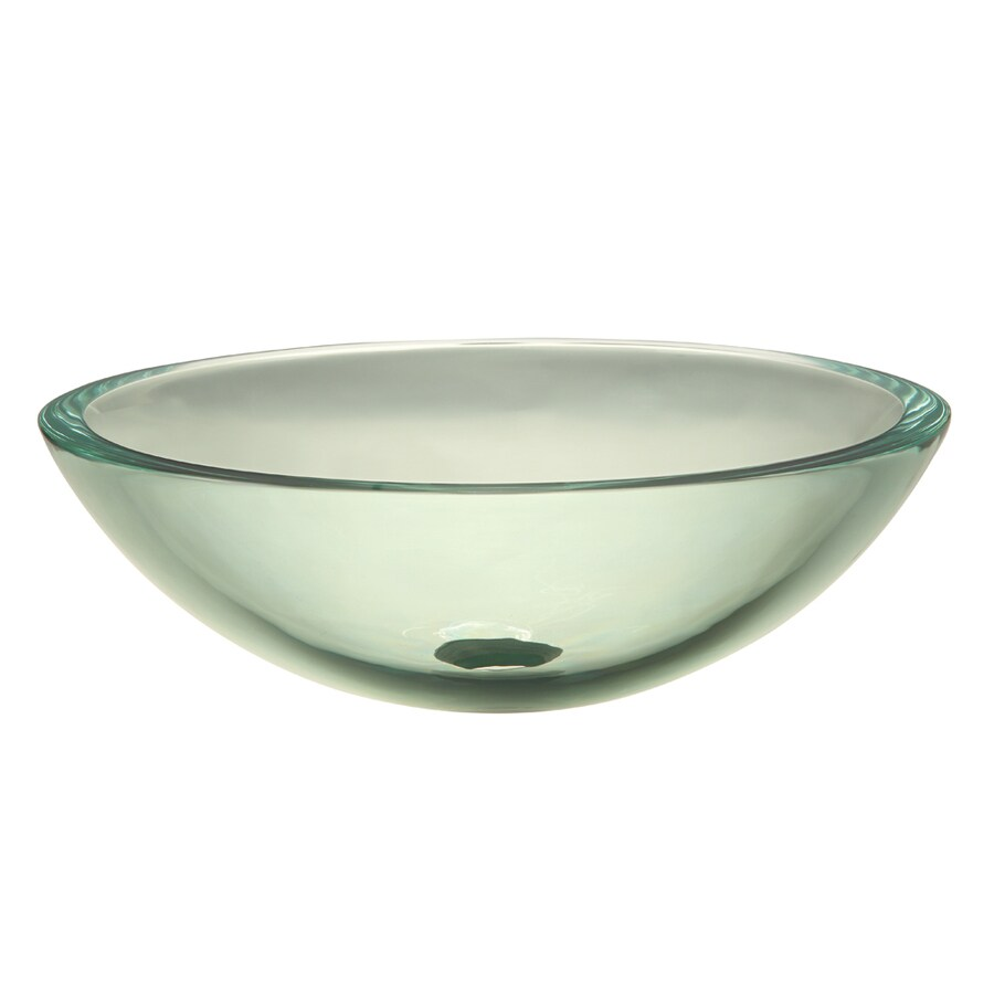 DECOLAV Translucence Transparent Natural Glass Vessel Round Bathroom Sink