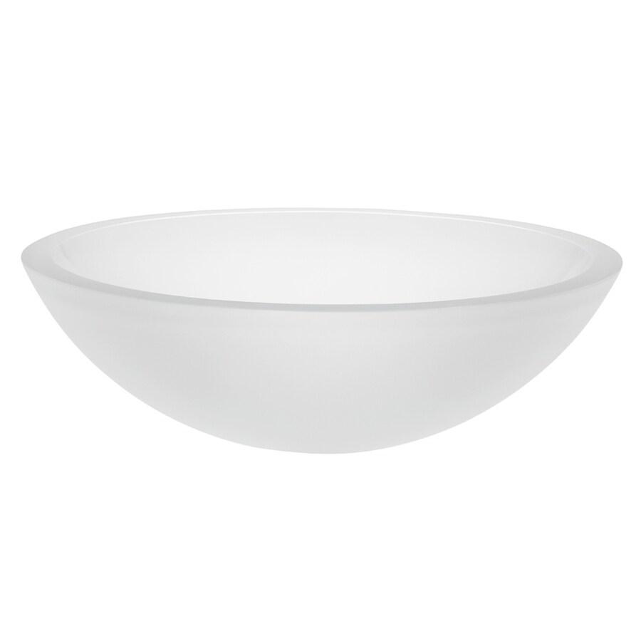 DECOLAV Translucence Frosted Crystal Glass Vessel Round Bathroom Sink