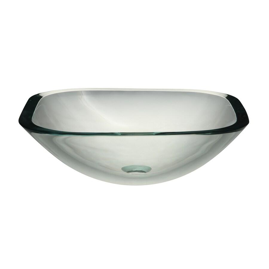 DECOLAV Translucence Transparent Crystal Glass Vessel Square Bathroom Sink