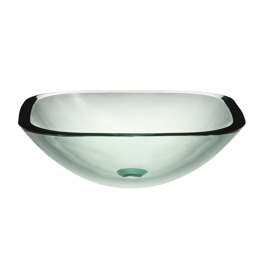DECOLAV Translucence Transparent Natural Glass Vessel Square Bathroom Sink