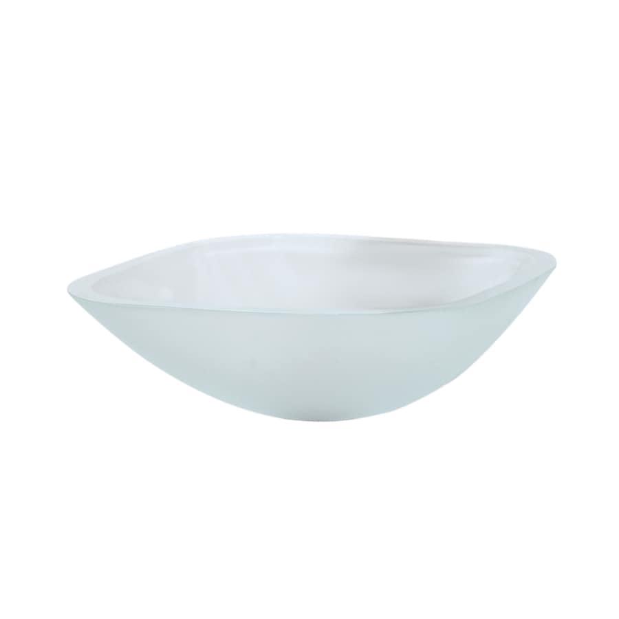 DECOLAV Translucence Frosted Crystal Glass Vessel Square Bathroom Sink