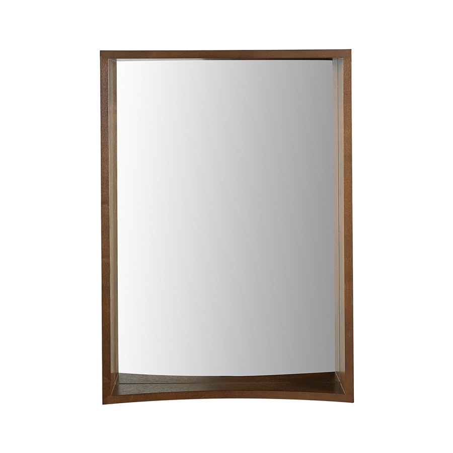 DECOLAV Madryn 22-in W x 31-in H Dark Walnut Rectangular Bathroom Mirror