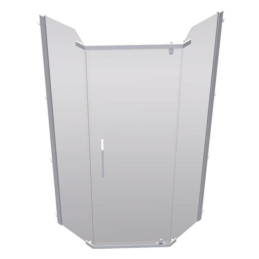 DECOLAV 32.968-in W x 74-in H Brushed Nickel Frameless Neo-Angle Shower Door