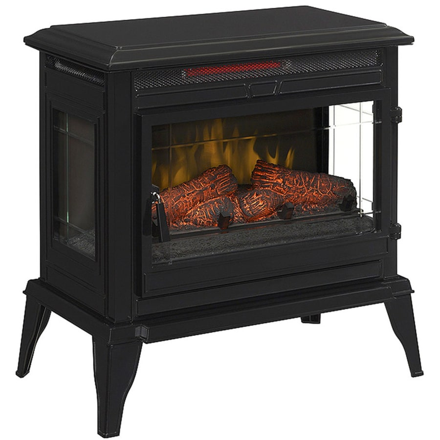 25-in W 5,200-BTU Black Gloss Wood Infrared Quartz Electric Fireplace with Thermostat and Remote Control