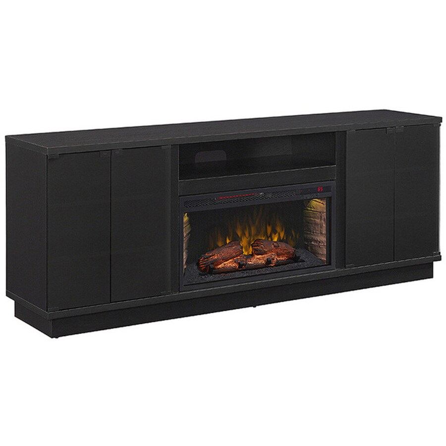60-in W 5,200-BTU Black Wood Grain Infrared Quartz Electric Fireplace with Thermostat and Remote Control