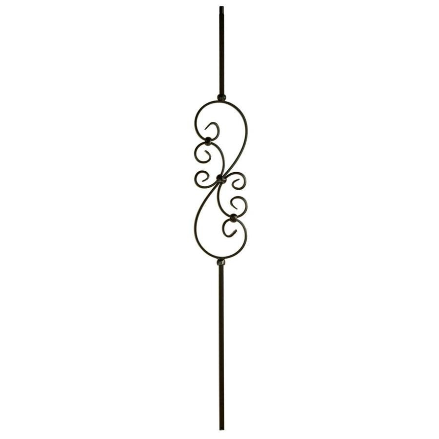 WM Coffman 44-in Satin Black Wrought Iron Scroll Stair Baluster