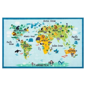 Animal World Map Rugs At Lowes