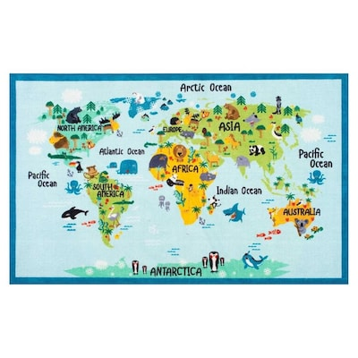 Nuloom Baby Blue Animal World Map Kids Rug At Lowes Com