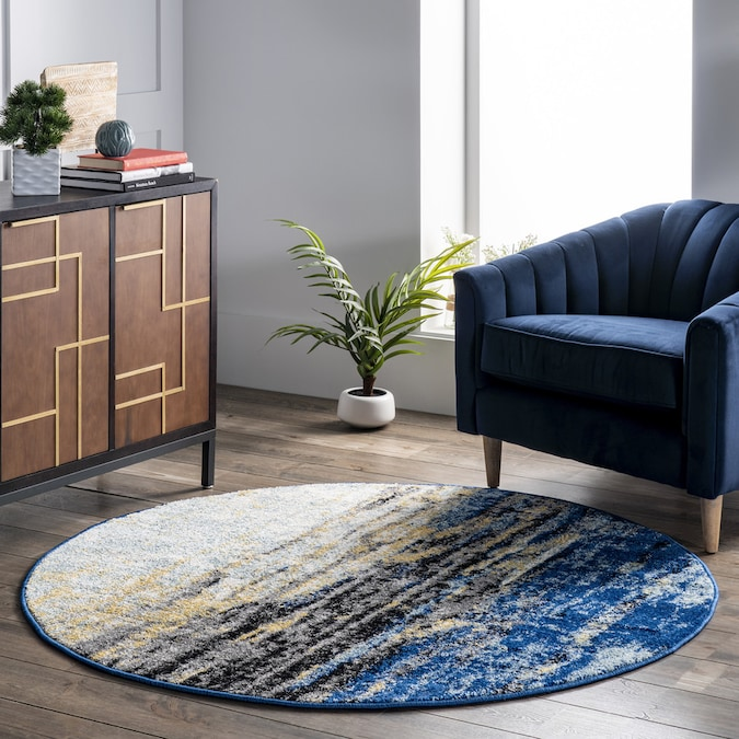 Blue Round Indoor Abstract Area Rug