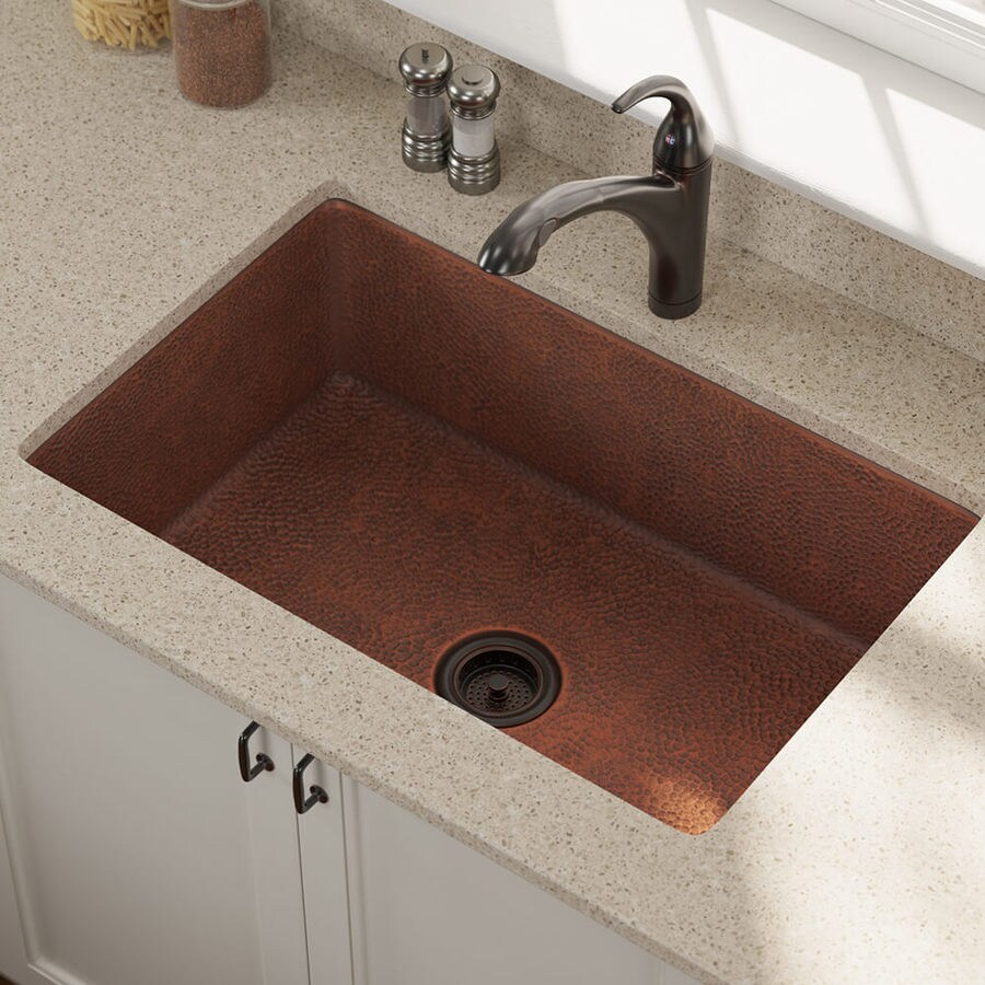Industrial Residential Kitchen: MR Direct 33-in X 22-in Copper Single-Basin Undermount