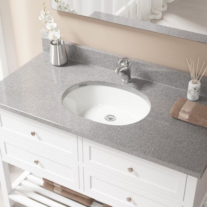 Mr Direct Bisque Porcelain Undermount Oval Bathroom Sink With Overflow Drain Drain Included 22 In X 16 75 In In The Bathroom Sinks Department At Lowes Com