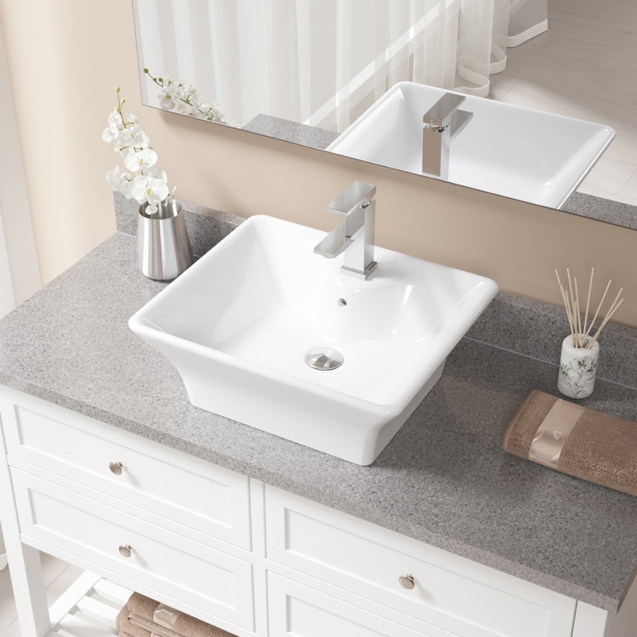 Mr Direct White Porcelain Vessel Rectangular Bathroom Sink With Faucet With Overflow Drain Drain Included 19 75 In X 16 63 In In The Bathroom Sinks Department At Lowes Com