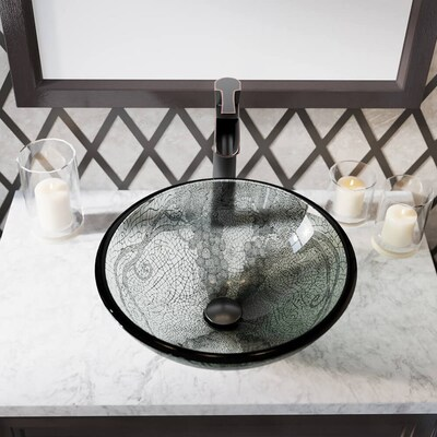 Stupendous Mr Direct Cracked Vineyard Tempered Glass Vessel Round Interior Design Ideas Gentotryabchikinfo