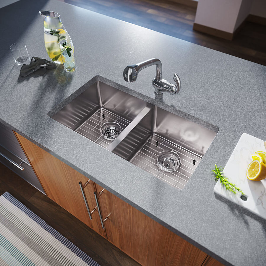 Industrial Residential Kitchen: MR Direct 31-in X 18-in Stainless Steel Double-Basin