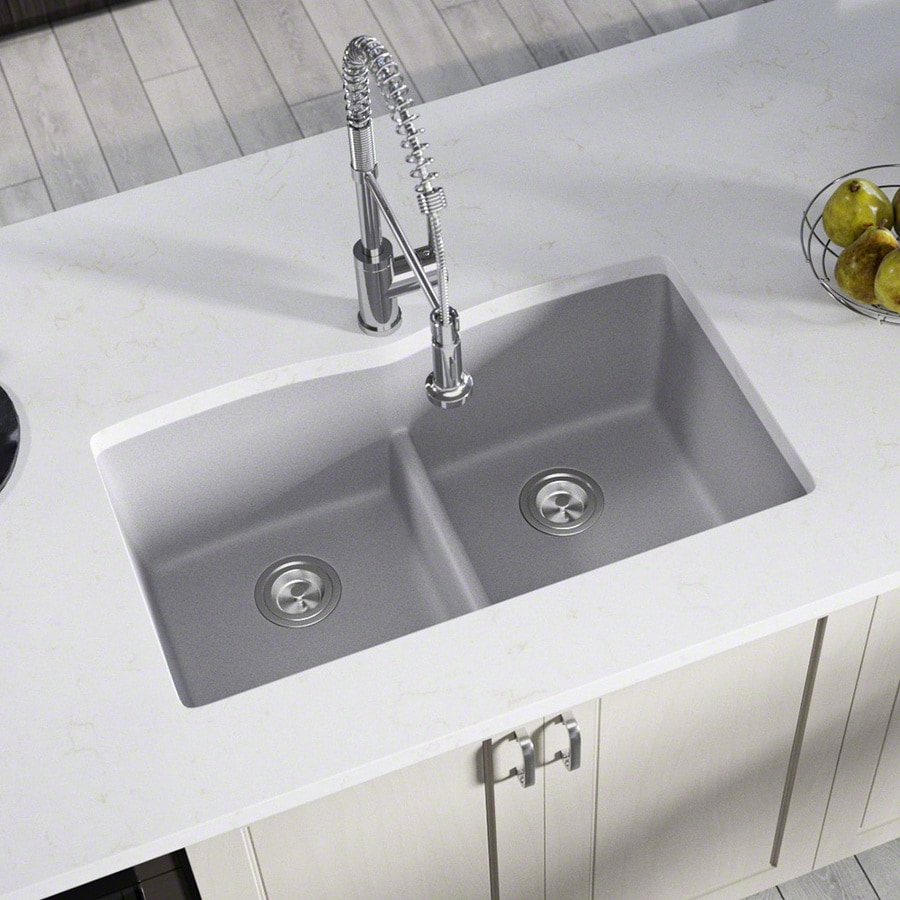 Mr Direct 33 In X 19 In Silver Double Basin Undermount