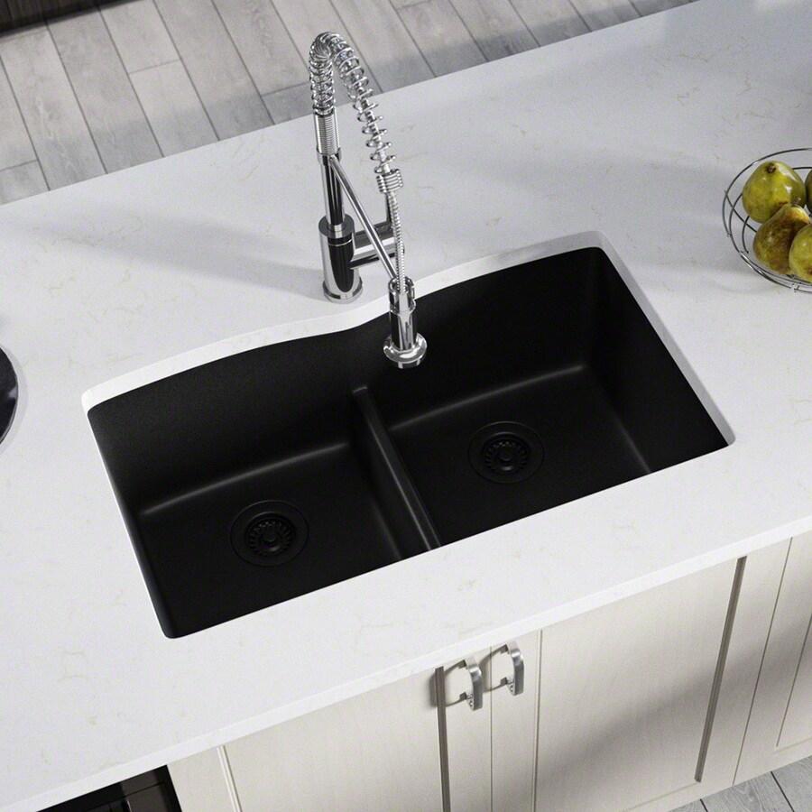 Kitchen Sink 19 X 33: MR Direct 33-in X 19-in Black Double-Basin Undermount