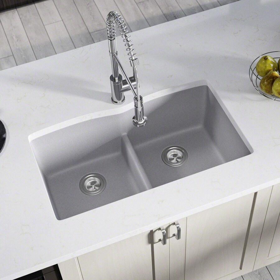 Kitchen Sink 19 X 33: MR Direct 33-in X 19-in Silver Double-Basin Undermount