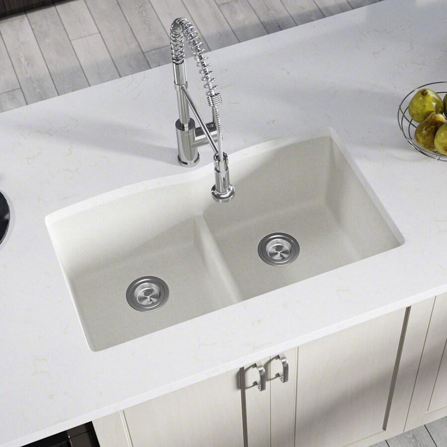 Kitchen Sink 19 X 33: MR Direct 33-in X 19-in White Double-Basin Undermount