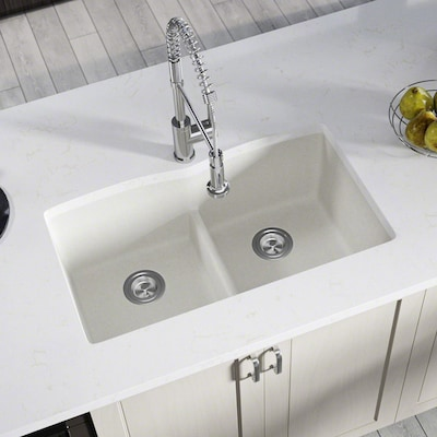 MR Direct 33-in x 19-in White Double-Basin Undermount ...