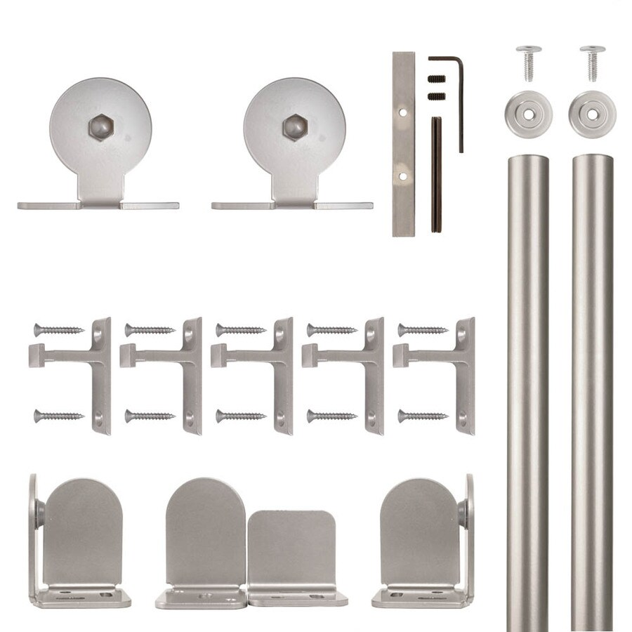 Quiet Glide 72-in Satin Nickel Aluminum Top Mount Sliding Barn Door Kit