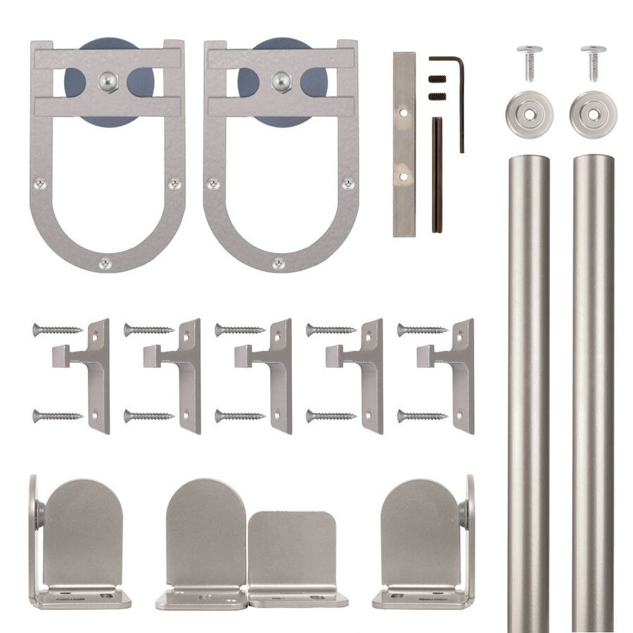 Quiet Glide 72-in Satin Nickel Aluminum Side Mount Sliding Barn Door Kit