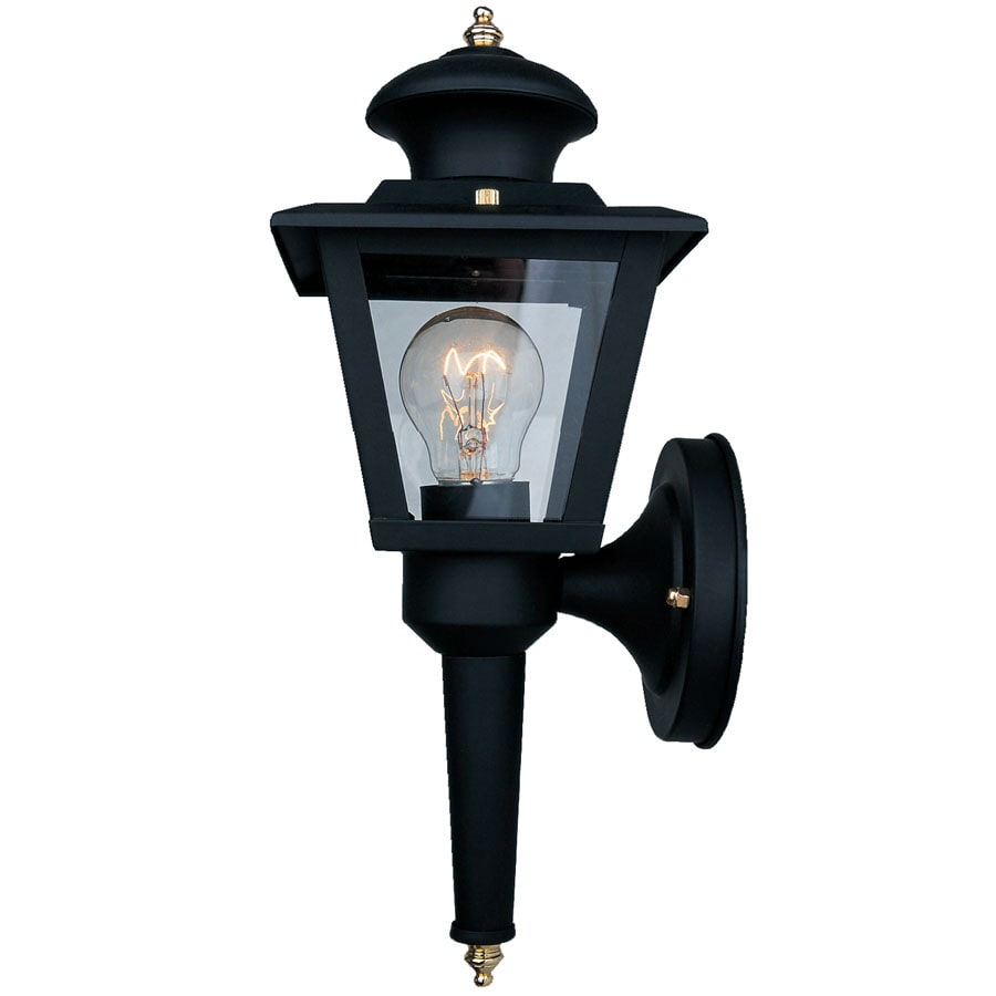 Portfolio 13-3/8-in H Black Outdoor Wall Light