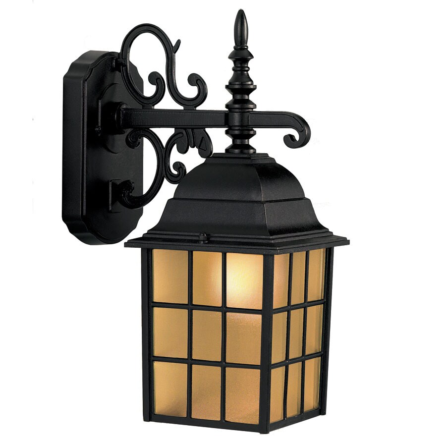 Portfolio 14.37-in H Sand Black Outdoor Wall Light