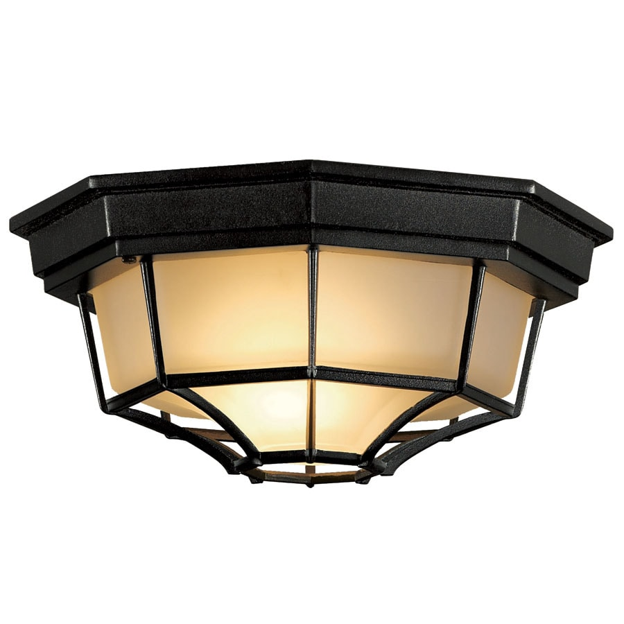 Ceiling Mount Outdoor Light Part - 38: Portfolio 11.25-in W Black Outdoor Flush-Mount Light