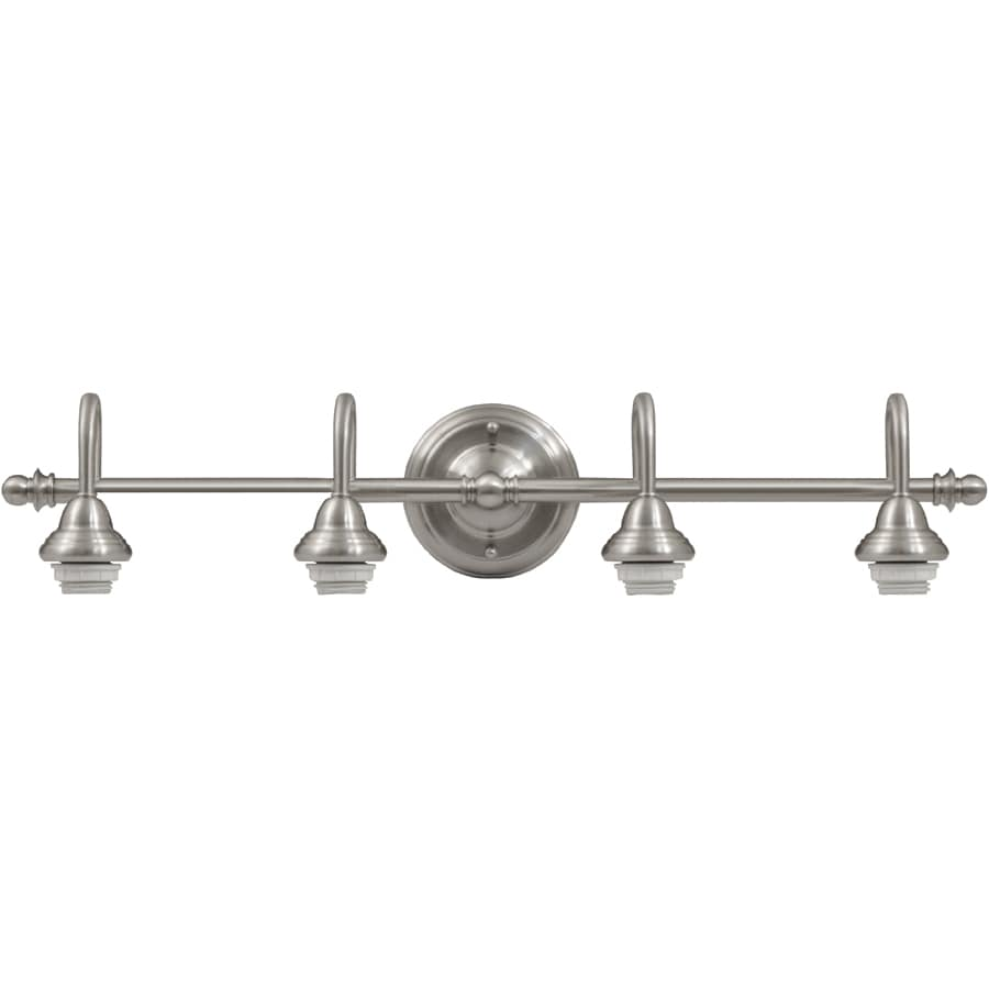 shop portfolio d&c 4-light 5.71-in brushed nickel vanity light at