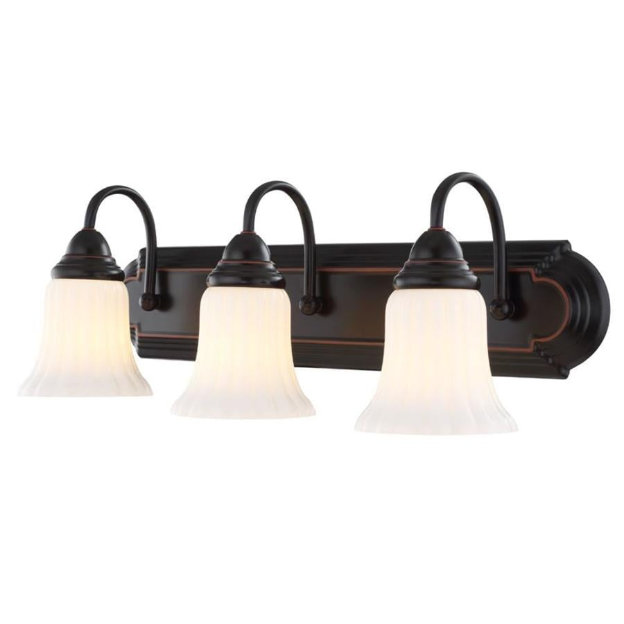 Lowes Bathroom Fixtures shop portfolio 3-light 8.46-in oil-rubbed bronze vanity light at