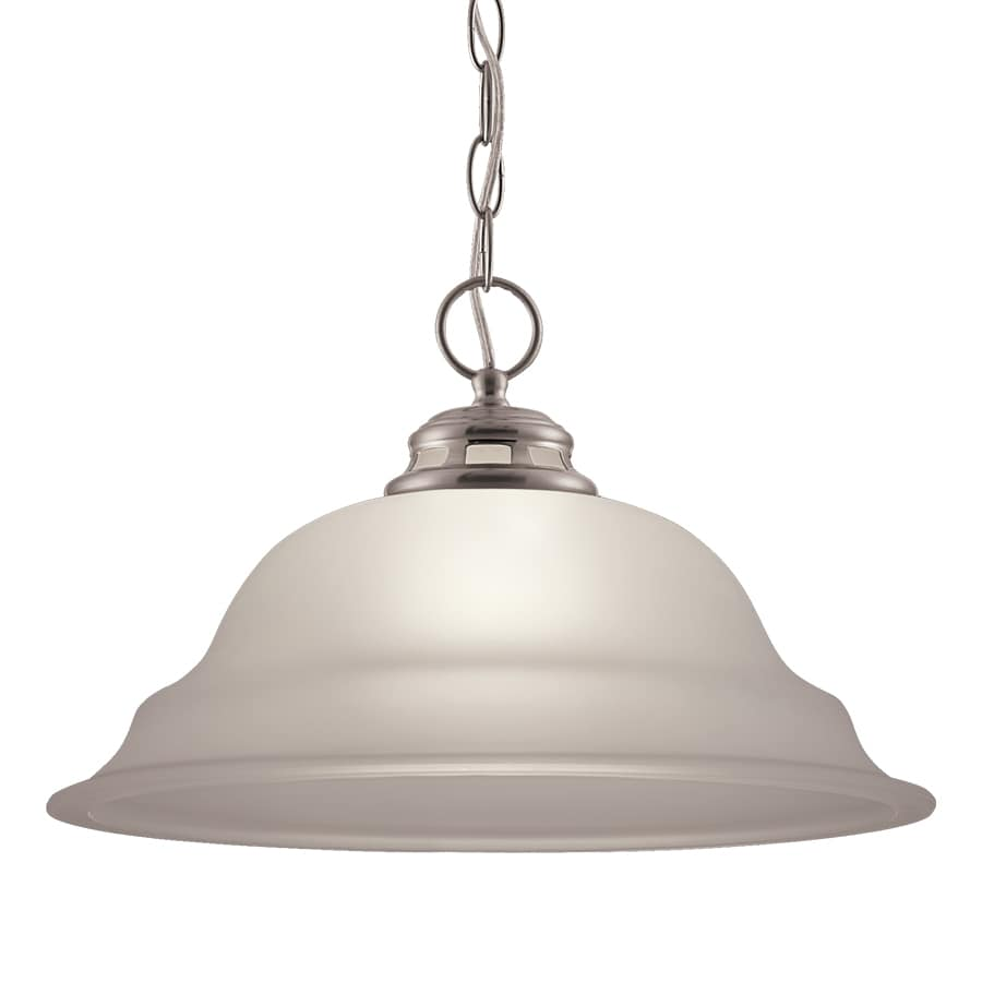project source fallsbrook 15in w brushed nickel pendant light with frosted shade
