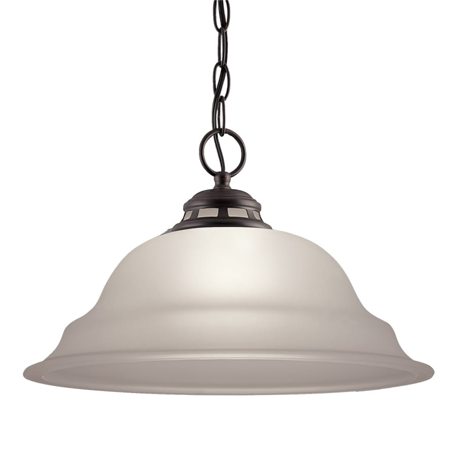 Project Source Fallsbrook 15-in W Dark Oil-Rubbed Bronze Pendant Light with Frosted Shade