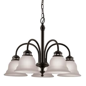 Shop Portfolio Roseall 22.97-in 5-Light Oil-Rubbed Bronze Etched ...:Project Source Fallsbrook 5-Light Dark Oil-Rubbed Bronze Chandelier,Lighting