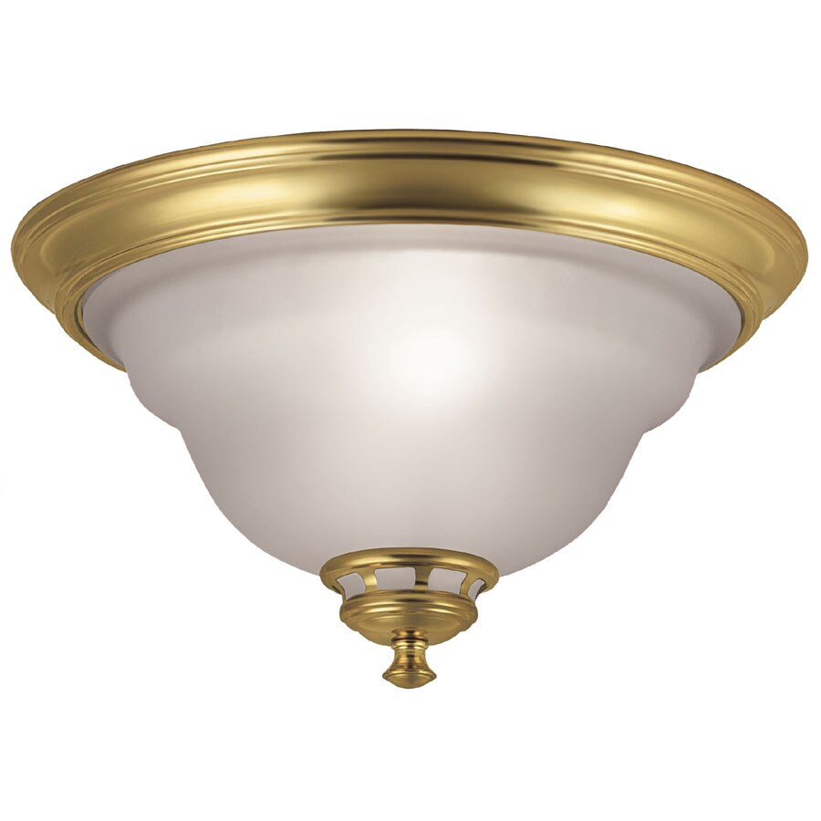 Project Source -Pack 13-in W Polished brass Flush Mount Light