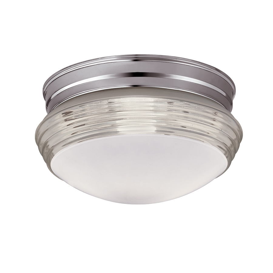 Portfolio 9.45-in W Chrome Frosted Glass Ceiling Flush