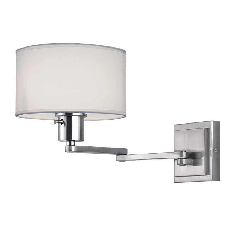 Portfolio 19.09-in W 1-Light Brushed Nickel Arm Hardwired Wall Sconce