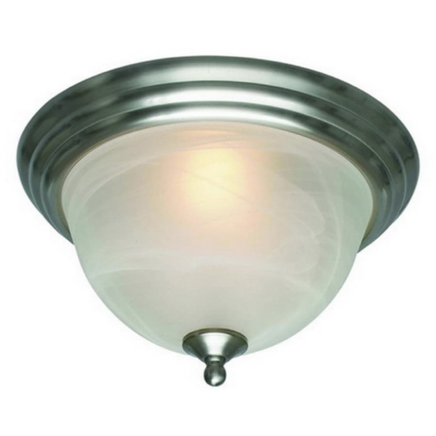 Project Source 10-in W Brushed Nickel Flush Mount Light