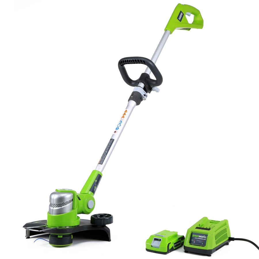 Greenworks 24-Volt 12-in Straight Brushless Cordless String Trimmer and Edger (Battery Included)