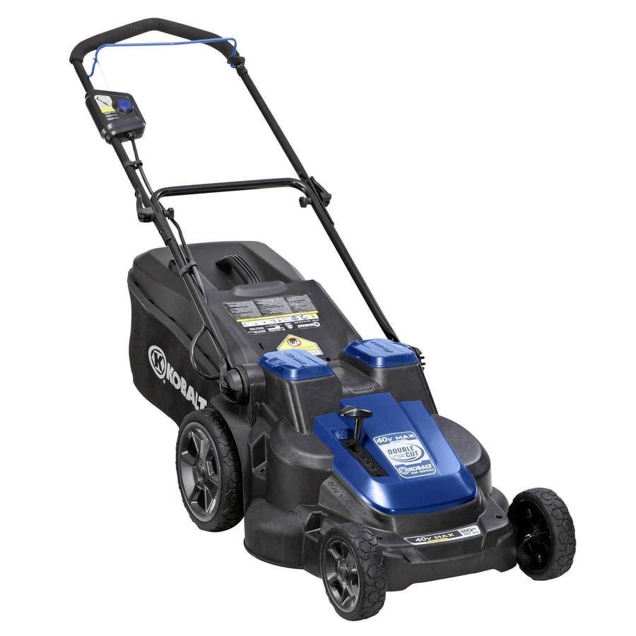 Kobalt 40-Volt Max Lithium Ion (Li-ion) 20-in Deck Width Cordless Electric Push Lawn Mower with 2 Batteries