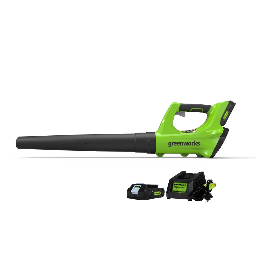 Greenworks 24-volt Lithium Ion 330-CFM 100-MPH Light-duty Cordless Electric Leaf Blower (Battery Included)
