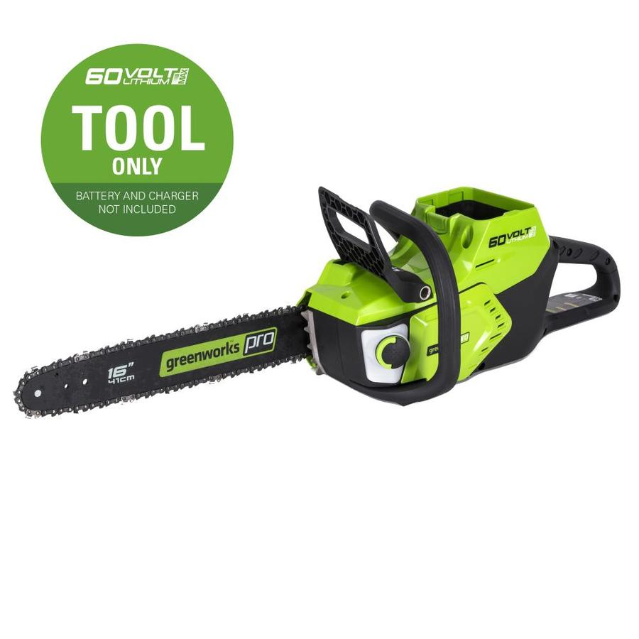 Greenworks Pro 60-Volt Max Lithium Ion (Li-ion) 16-in Brushless Cordless Electric Chainsaw (Bare Tool Only)