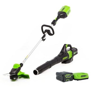 Greenworks Pro 60-Volt Cordless Brushless String Trimmer with 4Ah Battery, Charger and Greenworks 60V Axial Blower