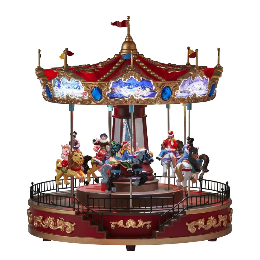Carole Towne Pre-Lit Musical Carousel Figurine with Twinkling Multicolor LED Lights