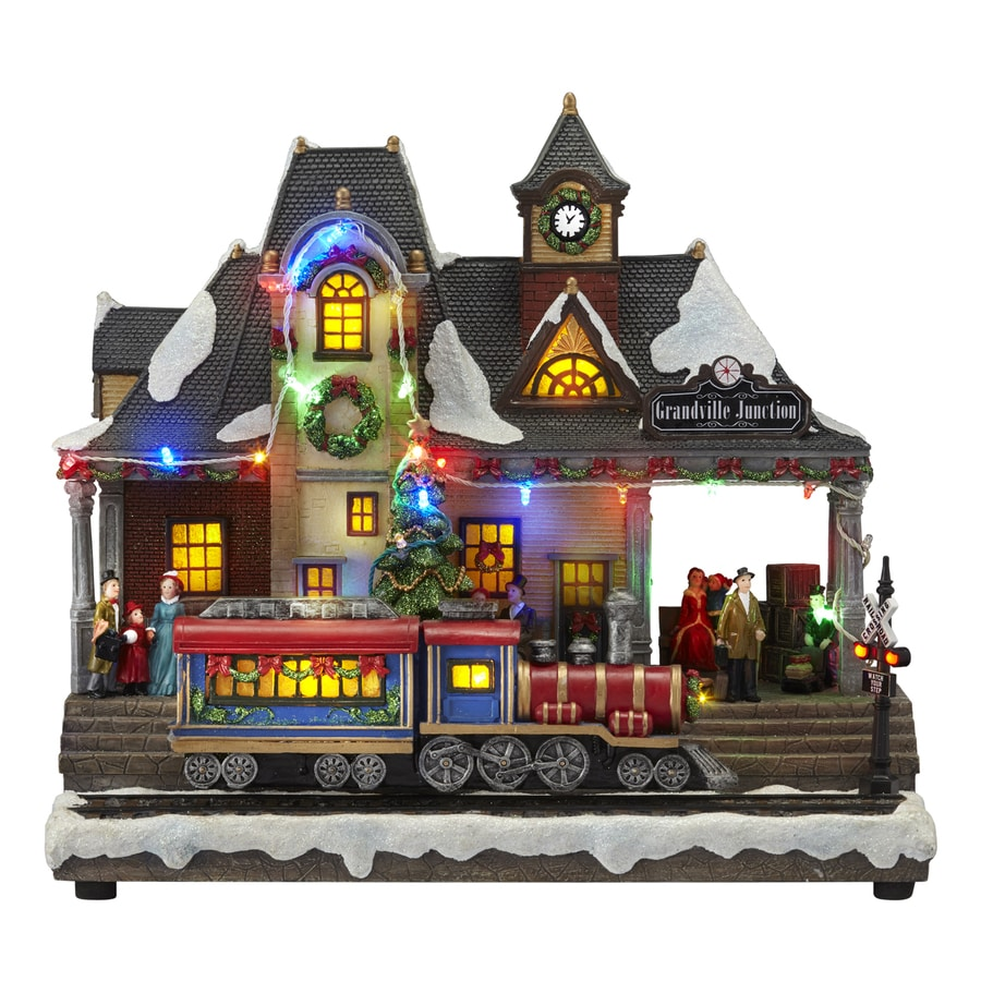 Carole Towne Pre-Lit Musical Train Figurine with Twinkling Multicolor LED Lights