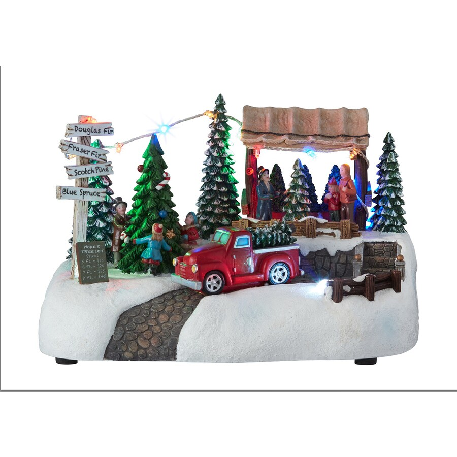 Carole Towne Pre-Lit Musical Village Scene Figurine with Twinkling Multicolor LED Lights
