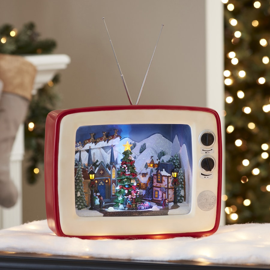 Shop Holiday Living Pre-Lit Musical Tv with Carolers with ...