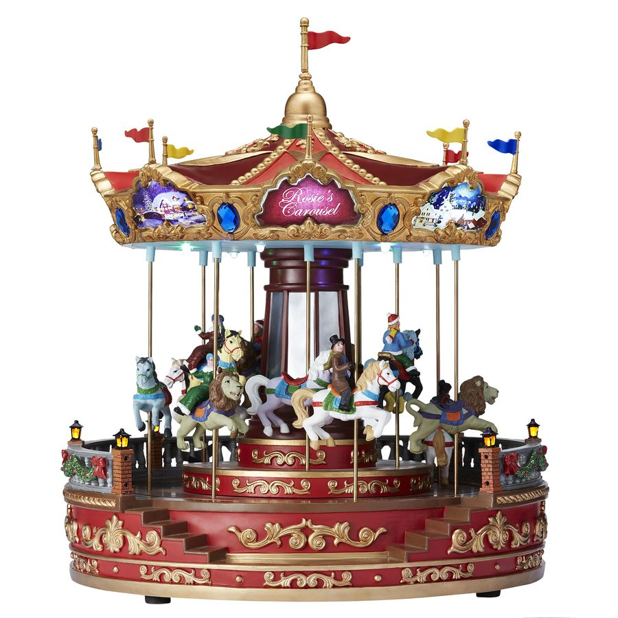 Carole Towne Rosies Carousel Lighted Musical Village Scene