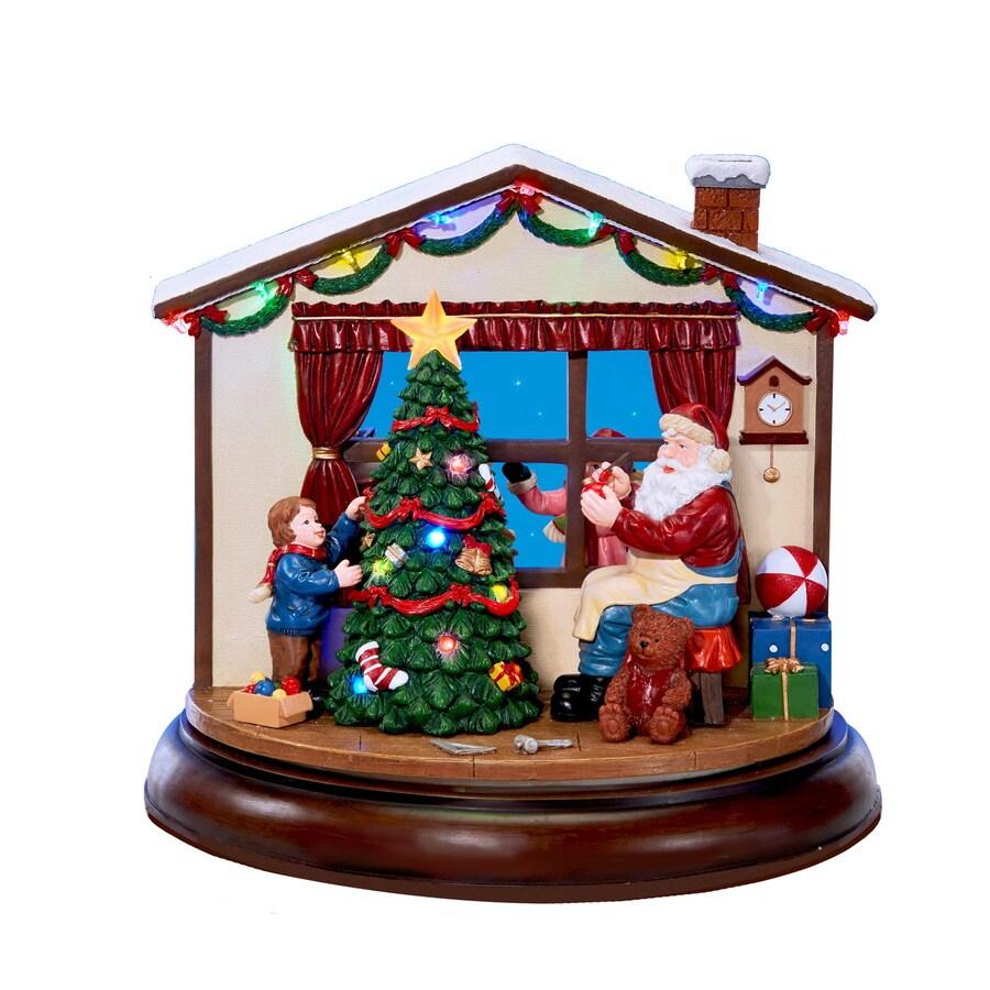 holiday living santas workshop lighted musical village scene - Lowes Christmas Village